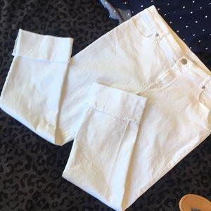 LOFT White Jeans, Cuffed Raw Edge Modern Straight